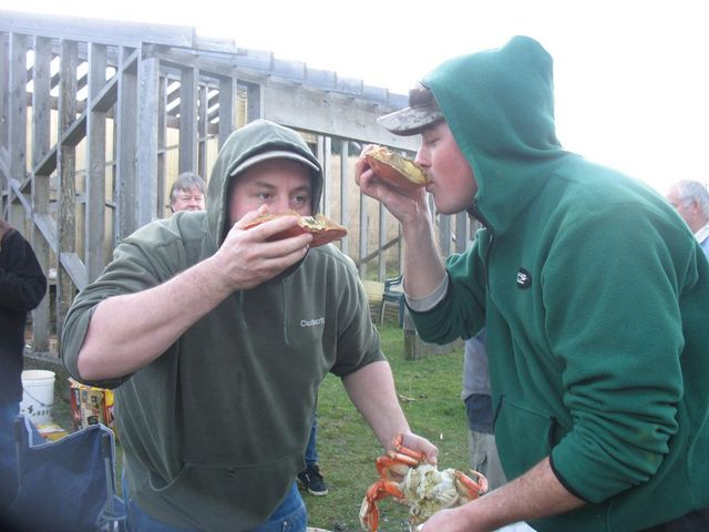 Capt Tyler & Wes enjoying Crab Butter